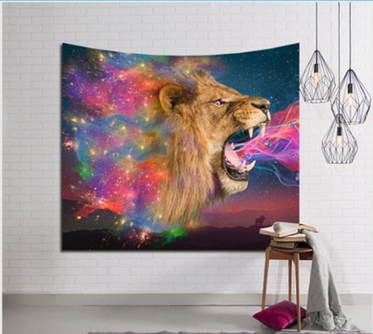 Color Firing Lion Tapestry