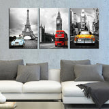 Canvas Painting Wall Art Frame 3 Pieces Paris Tower New York City Car Landscape Big Ben Poster for Home Decor - Best Room Tapestry