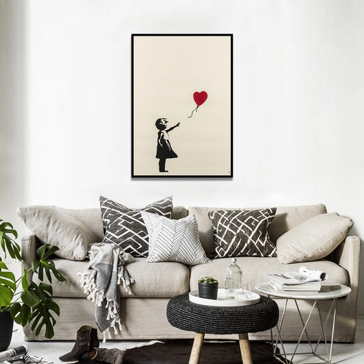 Girl with Balloon Silk Fabric Canvas Art for Home Decor - Best Room Tapestry