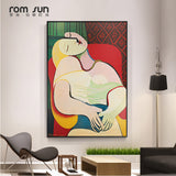 Picasso Dreaming Woman Abstract Canvas Painting Art for Wall and Living Room Home Decor - Best Room Tapestry