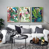 Tropical Rainforest Watercolor Plants Flower Bird Natural Style Canvas for Home Decor - Best Room Tapestry