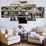 5 Panel Pictures 1965 Ford Mustang Canvas Painting for Home Decor Wall Art - Best Room Tapestry