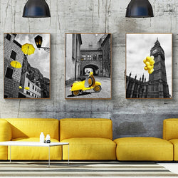 Europe City Scenery Yellow Retr Home Decor Canvas for Living Room or Bedroom Wall Art - Best Room Tapestry