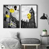 Europe City Scenery Yellow Retr Home Decor Canvas for Living Room or Bedroom Wall Art