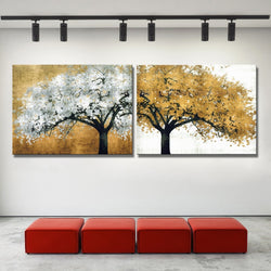 Modern Abstract Oil Painting Golden Trees Canvas for Wall Art Decoration for Living Room or Home Decor - Best Room Tapestry