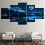 Blue Moon Night Scene Modern Decoration Canvas for Home Wall Art - 5 Pieces Abstract - Best Room Tapestry