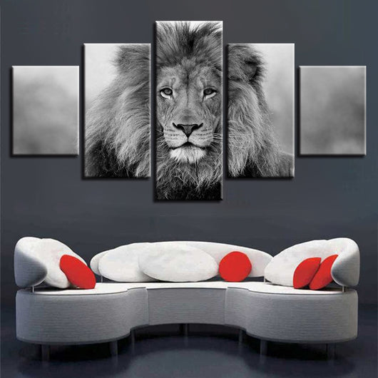 Black And White 5 Pieces Animal Lion Canvas for Wall Art Living Room Home Decor - Best Room Tapestry