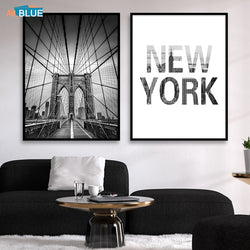 Scandinavian Painting Canvas Black And White New York Brooklyn Bridge Posters For Living Room Decoration - Best Room Tapestry