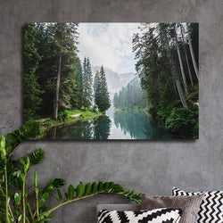 Clear Lake And Mountain In The Forest Canvas for Wall Art - Best Room Tapestry