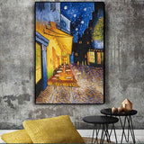 Famous Van Gogh Cafe Terrace At Night Painting Canvas Wall Art for Living Room - Best Room Tapestry