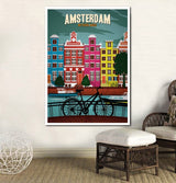 Minimalist Travel Posters Vintage Amsterdam Canvas for Wall Art Decor - Best Room Tapestry