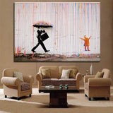 Banksy Art Graffiti Colorful Rain Prints on Canvas Modern Canvas Painting Wall Art Posters and Prints For Living Room Decoration - Best Room Tapestry