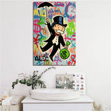 Alec Monopolies Riding Money Pop Art Canvas Painting for Bedroom or Home Decoration Modern Wall Art - Best Room Tapestry