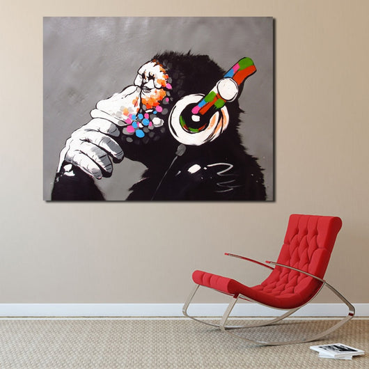 DJ Monkey With Headphones Canvas for Wall Art Home Decoration - Best Room Tapestry