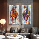 Larger Original Running Horse Oil Paintings Wall Art For Living Room or Home Decor - Best Room Tapestry