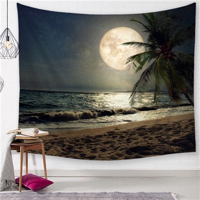 Full Moon Matrix Beach Tapestry - Best Room Tapestry