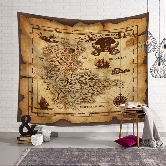 Caribbean Treasure Map Tapestry - Best Room Tapestry