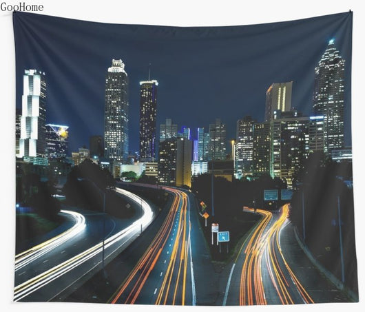 Atlanta City Skyline (Night) Wall Tapestry - Best Room Tapestry