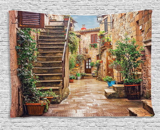 Old Mediterranean Street Tuscan Tapestry View - Best Room Tapestry