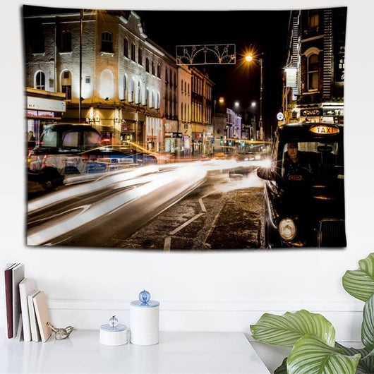 Night Light London Street Tapestry - Best Room Tapestry