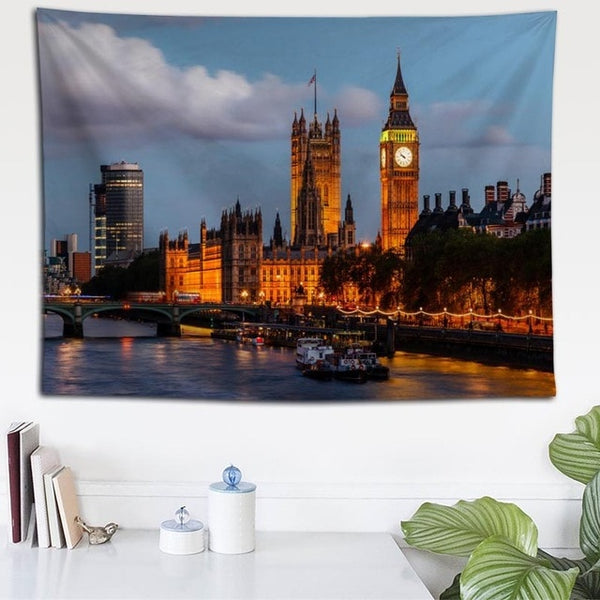 London Bridge Night View Tapestry - Best Room Tapestry