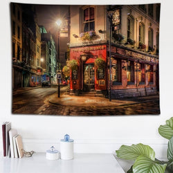 London Street Night View Tapestry - Best Room Tapestry