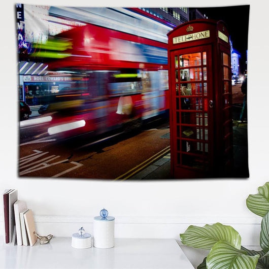 Lit London Booth Tapestry - Best Room Tapestry