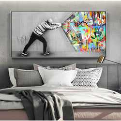 Behind The Curtain Street Art Canvas for Living Room Home Decor - Best Room Tapestry