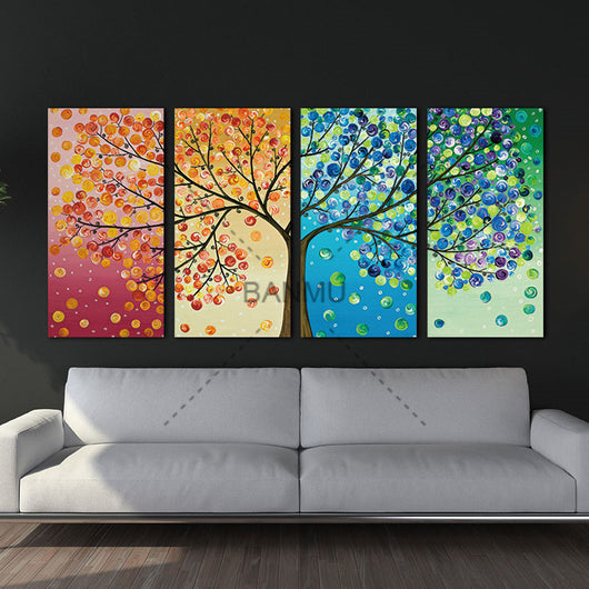 Wall Art Canvas Painting with Colourful Leaf Trees For Home Decoration - Best Room Tapestry