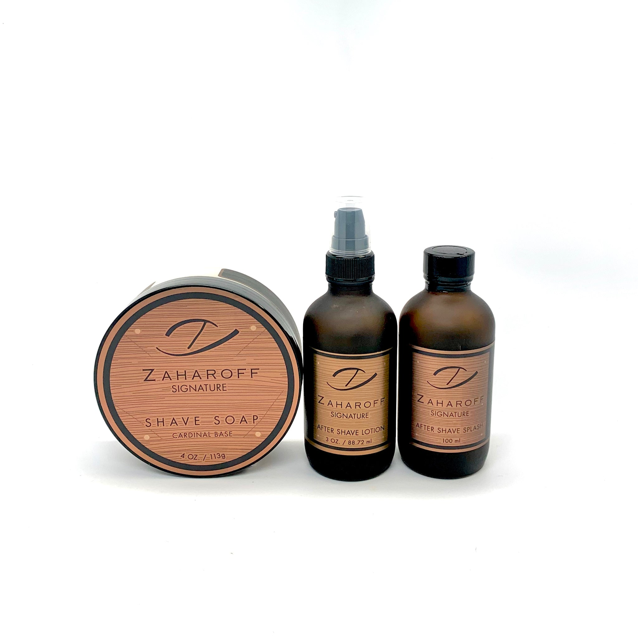 Zaharoff Signature Shave Soap +Aftershave Splash  + Aftershave Lotion Set
