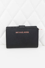Load image into Gallery viewer, Michael Kors Black Saffiano Leather Compact Wallet