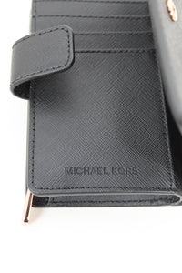 Michael Kors Black Saffiano Leather Compact Wallet
