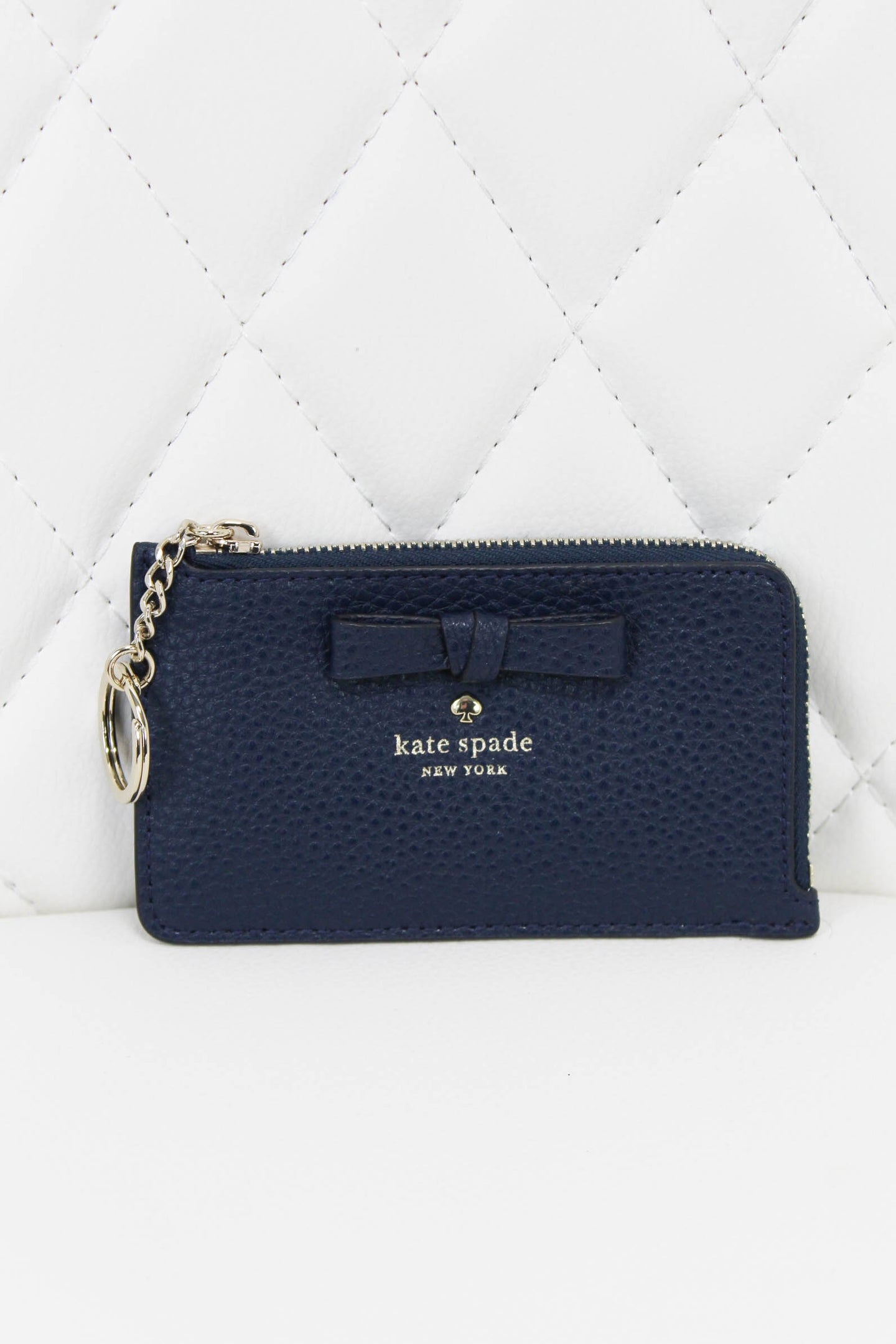 Kate Spade Pebbled Leather Bow Card Key Pouch Blue