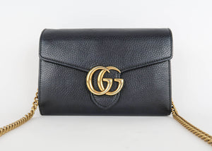 Gucci Black Marmont Flap Wallet Bag