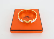 Load image into Gallery viewer, Hermes White and Gold Clic H Bracelet