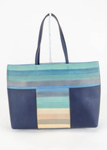 Load image into Gallery viewer, Tory Burch Navy Stripped Tote