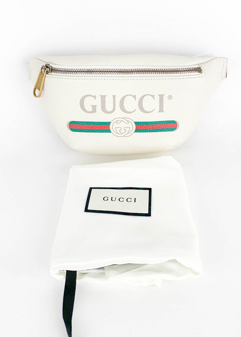 Gucci White Leather Bumbag