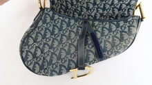 Load image into Gallery viewer, Dior Canvas Oblique Jacquard Saddle Bag Navy