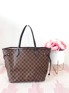 Louis Vuitton Damier Ebene Neverfull MM w/ Pink Interior