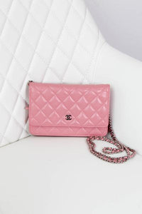 Chanel Pink Lambskin Wallet on a Chain