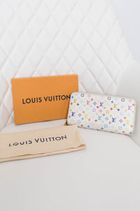 Louis Vuitton White Multicolor Zippy Wallet