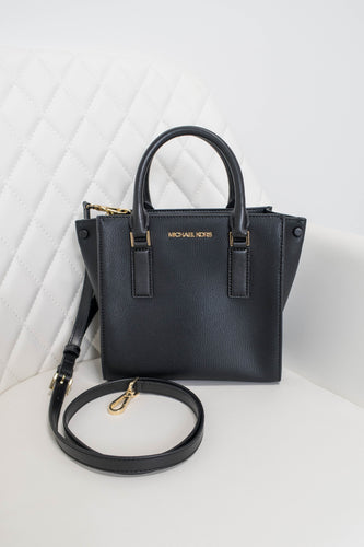 Michael Kors Black Alessa Medium Leather Satchel