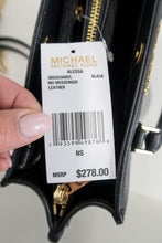 Load image into Gallery viewer, Michael Kors Black Alessa Medium Leather Satchel