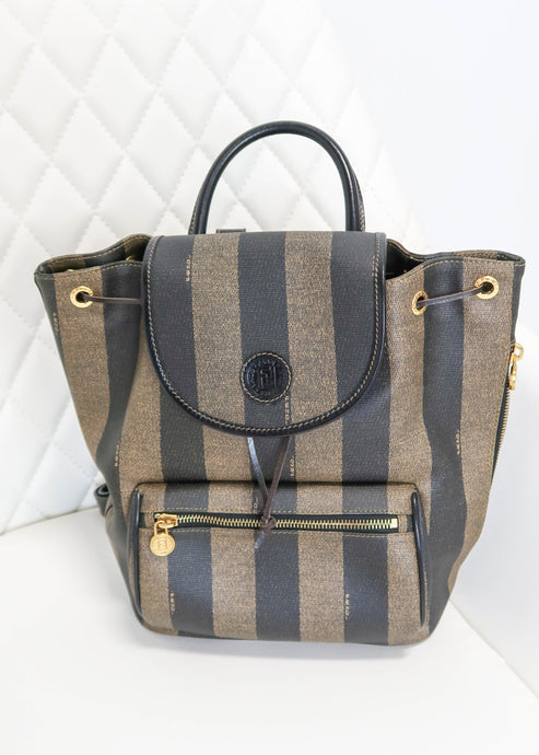 Fendi Pequin PVC Striped Backpack