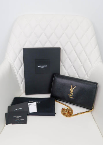 YSL Black Grain de Poudre Kate Bag
