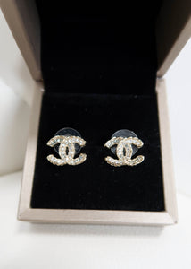 Chanel CC Rhinestone Stud Earrings