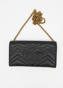 Gucci Black Marmont Wallet On A Chain