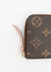 Louis Vuitton Monogram w/ Light Pink Clemence Wallet