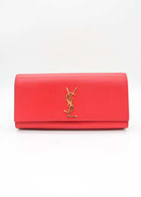 YSL Red Kate Grain de Poudre Clutch