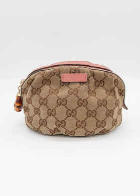 Gucci Canvas with Pink Cosmetic Bag